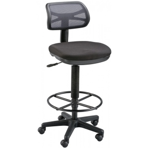 "Alvin® Griffin™ Black Drafting Height Chair; Arm Rest Included: No; Color: Black/Gray; Foot Ring Included: Yes; Height Range: 24"" - 29"", 30"" & Up, Under 24""; Seat Material: Fabric; (model DC710-40), price per each"