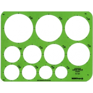 """Alvin® Large Circles Template; Scale: 1 1/2"""" - 3 1/2""""; (model TD1201), price per each"""