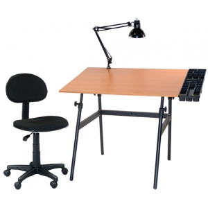 Martin Berkeley 4 pc Combo Black with Cherrywood Top, Tray Lamp and Desk Hegiht Chair: Model # U-DS14042BW