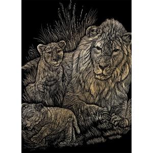 """Royal & Langnickel® Engraving Art Set Gold Foil Lion/Cubs: 8"""" x 10"""", Metallic, (model GOLF14), price per set"""