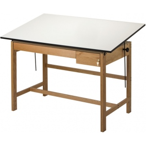 "Alvin® Titan II Solid Oak White Top Drafting Table 2 Drawers 37 1/2"" x 72""; Angle Adjustment Range: 0 - 45; Base Color: Brown; Base Material: Oak; Height: 37 1/2""; Top Color: White/Ivory; Top Material: Melamine; Top Size: 37 1/2"" x 72""; (model WLB72), price per each"