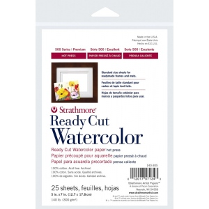 "Strathmore® 500 Series 5"" x 7"" Hot Press Ready Cut Watercolor Sheet Pack: White/Ivory, Sheet, 25 Sheets, 5"" x 7"", Hot Press, 140 lb, (model ST140-305), price per 25 Sheets"