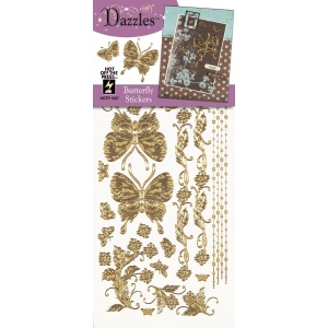 "Dazzles™ Stickers Gold Butterfly; Color: Metallic; Size: 4"" x 9""; Type: Outline; (model HOTP1837), price per each"