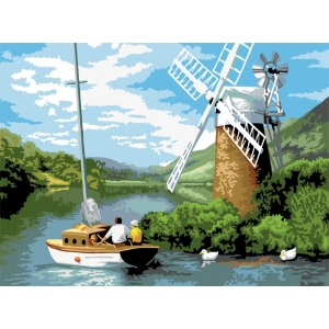 "Royal & Langnickel® Painting by Numbers™ 12 3/4 x 15 3/4 Adult Set Windmill on the River: 12 3/4"" x 15 3/4"", (model PAL7), price per set"