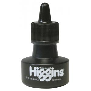 Higgins® Waterproof Color Drawing Ink Turquoise: Blue, Bottle, Dye-Based, 1 oz, Waterproof, (model SN44109), price per each