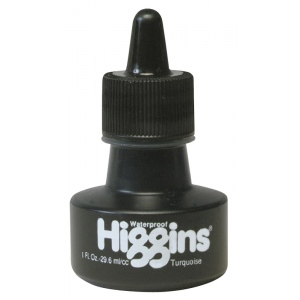 Higgins® Waterproof Color Drawing Ink Turquoise; Color: Blue; Format: Bottle; Ink Type: Dye-Based; Size: 1 oz; Waterproof: Yes; (model SN44109), price per each