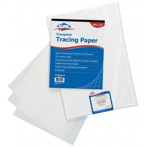 """Alvin® Traceprint Tracing Paper 50-Sheet Pad 8-1/2"""" x 11""""; Binding: Fold Over; Color: White/Ivory; Format: Pad; Quantity: 50 Sheets; Size: 8 1/2"""" x 11""""; Type: Tracing; Weight: 17 lb; (model 6811P-1), price per 50 Sheets pad"""