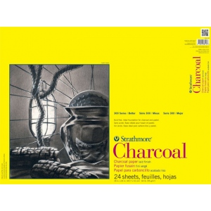"Strathmore® 300 Series 18"" x 24"" White Glue Bound Charcoal Pad; Binding: Glue Bound; Color: White/Ivory; Finish: Laid; Format: Pad; Quantity: 24 Sheets; Size: 18"" x 24""; Type: Charcoal; Weight: 64 lb; (model ST330-118), price per 24 Sheets pad"