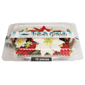 "Box O' Poinsettias 12PC/BOX; Color: Red/Pink, White/Ivory; Material: Paper; Size: 1 1/2"", 2 1/2""; Type: Dimensional; (model BHS107513), price per each"