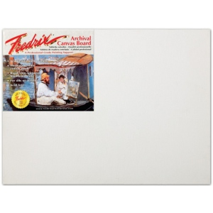 "Fredrix® PRO Series 12 x 16 Archival Cotton Canvas Board; Color: White/Ivory; Format: Panel/Board; Material: Cotton; Size: 12"" x 16""; Type: Archival; (model T3414), price per each"