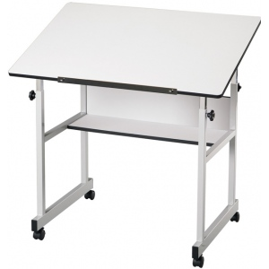 "Alvin® MiniMaster™ Table Gray Base with White Top; Angle Adjustment Range: 0 - 30; Base Color: Black/Gray; Base Material: Steel; Height Range: 27"" - 40""; Top Color: White/Ivory; Top Size: 24"" x 36""; (model MM36-5), price per each"