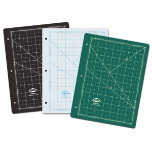 "Alvin® GBM Series Green/Black Professional Self-Healing Cutting Mat For 3-Ring Binders: Black/Gray, Green, Grid, Vinyl, 8 1/2"" x 11"", 3mm, Cutting Mat, (model GBM0811H), price per each"