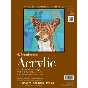"Strathmore 400 Series Acrylic Paper: Glue Bound Pad with Flip Over Cover, 12"" x 12"", 24 Sheets"