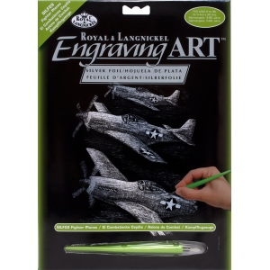 "Royal & Langnickel® Engraving Art Set Silver Fighter Plane: 8"" x 10"", Metallic, (model SILF29), price per set"