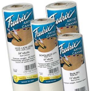 "Fredrix® Value Series 57"" x 6yd Polyflax Acrylic Primed Canvas Roll: White/Ivory, Roll, Polyflax Canvas, 57"" x 6 yd, Acrylic, Primed, (model T1075), price per roll"