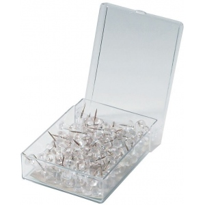 "Alvin® Clear Push Pins; Color: Clear; Size: 3/8""; (model PP100-CL), price per box"