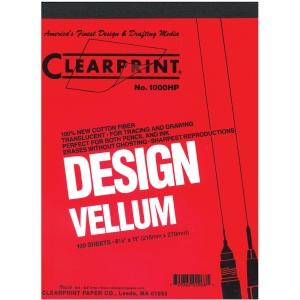 "Clearprint® 1000H Series 8.5 x 14 Unprinted Vellum 100-Sheet Pack: Pad, Unprinted, 100 Sheets, 8 1/2"" x 14"", 16 lb, (model CP10201512), price per 100 Sheets"