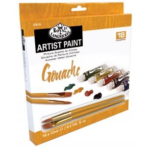 Royal & Langnickel® 18-Color Gouache Paint Set; Color: Multi; Format: Tube; Size: 12 ml; Type: Gouache; (model RGOU18), price per set