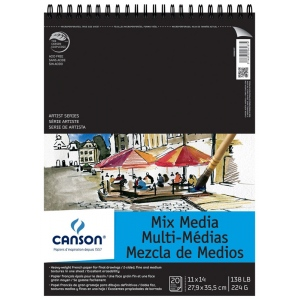 """Canson® Artist Series 11"""" x 14"""" Mixed Media Pad (Top Wire); Binding: Wire Bound; Color: White/Ivory; Format: Pad; Size: 11"""" x 14""""; Weight: 138 lb; (model C200006187), price per pad"""