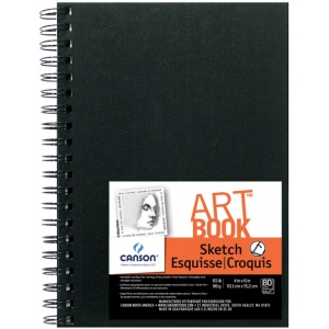 "Canson® ArtBook™ Artist Series 5"" x 7"" Wirebound Sketchbook: Wire Bound, White/Ivory, Book, Black/Gray, 80 Sheets, 5"" x 7"", Sketching, 65 lb, (model C100510433), price per each"