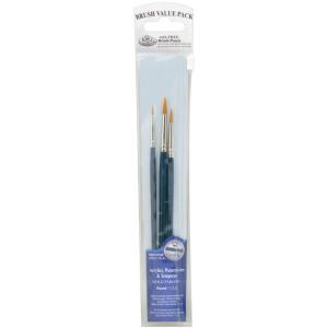 Royal & Langnickel® 9100 Series  Zip N' Close™ Dark Blue 3-Piece Brush Set 8: Short Handle, Taklon, Round, Acrylic, Tempera, Watercolor, (model RSET-9108), price per set
