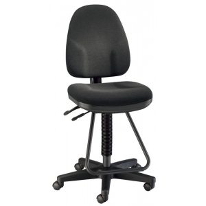 """Alvin® Black Executive Drafting Height Monarch Chair: Arm Rest Included, Black/Gray, Foot Ring Included, 24"""" - 29"""", 30"""" & Up, Fabric, (model DC555-40), price per each"""