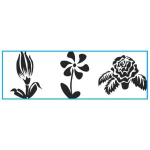 "Paasche ST-6 Tattoo Stencil: 3"" X 10"", Tulip, Daisy & Rose"