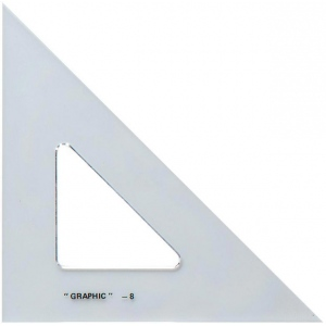 "Alvin® 6"" Academic Transparent Triangle 45°/90°: 45/90, Clear, Polystyrene, 6"", Triangle, (model S1450-6), price per each"
