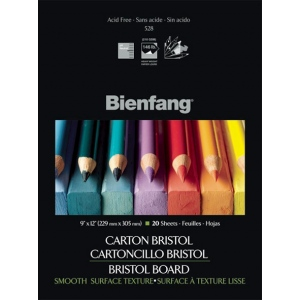 "Bienfang® 9 x 12 Smooth Finish White Drawing Bristol Board Pads; Finish: Smooth; Format: Pad; Quantity: 20 Sheets; Size: 9"" x 12""; Weight: 146 lb; (model 528P-121), price per 20 Sheets pad"