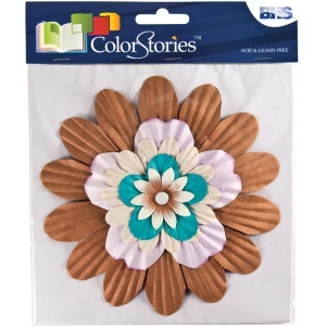 "Blue Hills Studio™ ColorStories™ Handmade Paper Stacked Flowers Brown: Brown, Paper, 6"", Dimensional, (model BHS10609), price per each"