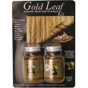 Mona Lisa™ Metal Leaf™ Standard Gold Kit: Blister-carded, Metallic, Sheet, 25 Sheets, (model ML10201), price per kit