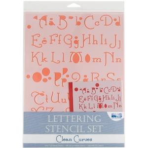 "Blue Hills Studio™ Lettering Stencil Set Clean Curves; Scale: 1"", 3/8""; Type: Lettering; (model BHS108SET), price per set"