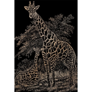 "Royal & Langnickel® Engraving Art Set Copper Foil Girffe & Baby: 8"" x 10"", Metallic, (model COPF16), price per set"