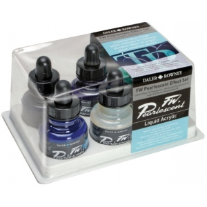 FW Liquid Artists' Acrylic Ink 6-Color Pearl Effects Set; Color: Multi; Format: Bottle; Ink Type: Acrylic; Size: 1 oz; (model FW603200006), price per set