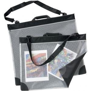 "Prestige™ Mesh Front Portfolio 23"" x 31""; Color: Black/Gray; Gusset Size: 1""; Material: Nylon, Vinyl; Size: 23"" x 31""; (model SPM2331), price per each"