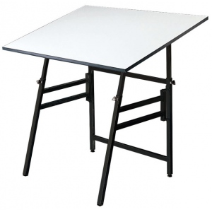 "Alvin® Professional Table Black Base White Top 36"" x 48"": 0 - 45, Black/Gray, Steel, 29"" - 45"", White/Ivory, Melamine, 36"" x 48"", (model MODEL XII-3-XB), price per each"