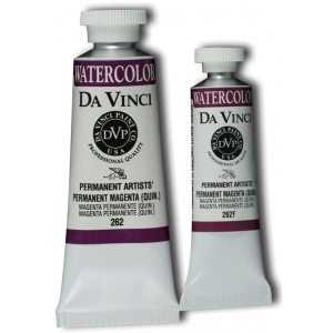 Da Vinci Artists' Watercolor Paint 15ml Permanent Magenta; Color: Red/Pink; Format: Tube; Size: 15 ml; Type: Watercolor; (model DAV262F), price per tube