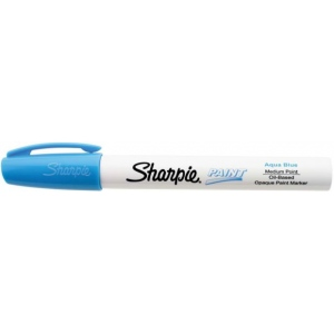 Sharpie® Oil Paint Marker Medium Aqua: Blue, Paint, Medium Nib, (model SN35563), price per each