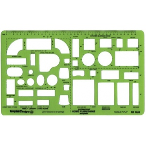 "Alvin® Home Furnishings Template; Scale: 1/4"" = 1'; (model TD1155), price per each"