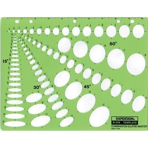 """Rapidesign® Combination Ellipse Master Template; Scale: 1/8"""" - 1 1/2"""", 1/8"""" - 1 3/4"""", 1/8"""" - 1 5/8"""", 3/16"""" - 1 5/8""""; (model 479R), price per each"""