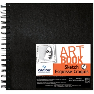 "Canson® ArtBook™ Artist Series 8"" x 8"" Wirebound Sketchbook: Wire Bound, White/Ivory, Book, Black/Gray, 80 Sheets, 8"" x 8"", Sketching, 65 lb, (model C100510435), price per each"