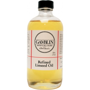 Gamblin Refined Linseed Oil 8oz; Size: 8 oz; Type: Linseed Oil; (model G06008), price per each