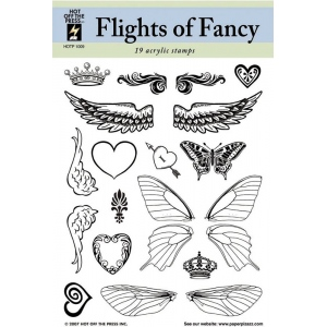 """Hot Off the Press Clear Acrylic Stamp Set Flights Of Fancy; Material: Acrylic; Mounted: No; Size: 5 1/2"""" x 7""""; (model HOTP1009), price per each"""