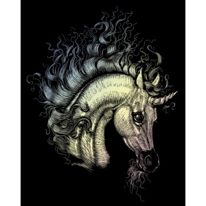 "Royal & Langnickel® Engraving Art Set Unicorn; Board Size: 8"" x 10""; Color: Metallic; (model HOLO22), price per set"