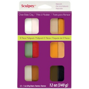 Sculpey® III Polymer Clay 12-Color Natural Set: Multi, Bar, Polymer, 1 oz, Oven Bake, (model S3VMN12), price per set