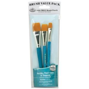 Royal & Langnickel® 9100 Series  Zip N' Close™ Teal Blue 3-Piece Brush Set 14: Short Handle, Taklon, Glaze, Acrylic, Tempera, Watercolor, (model RSET-9185), price per set