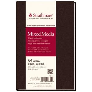 "Strathmore® 500 Series 5 1/2"" x 8 1/2"" Sewn Bound Mixed Media Art Journal: White/Ivory, Journal, 64 Sheets, 5 1/2"" x 8 1/2"", Mixed Media, (model ST566-5), price per each"