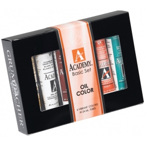 Grumbacher® Academy® Oil Paint 6-Color Set; Color: Multi; Format: Tube; Size: 24 ml; Type: Oil; (model GBAOS0624), price per set