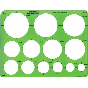 Rapidesign® Metric Extra Large Circle Template: 25 mm - 85 mm, (model 2440R), price per each