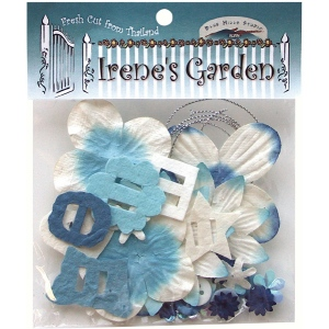 Blue Hills Studio™ Irene's Garden™ Potpourri Paper Flower & Embellishment Pack Blues; Color: Blue; Material: Paper; Size: 20 mm, 30 mm, 50 mm - 52 mm; Type: Dimensional; (model BHS37), price per pack